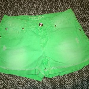 Justice size 14R lime green jean shorts